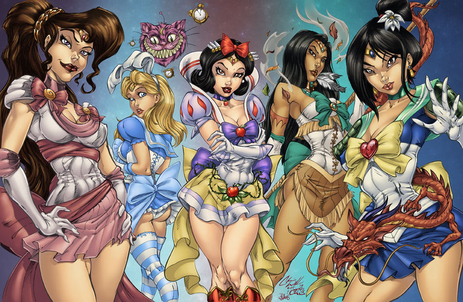 Cartoon Characters Gone Bad : Fan art disney princesses as sailor scouts by witchysaint
